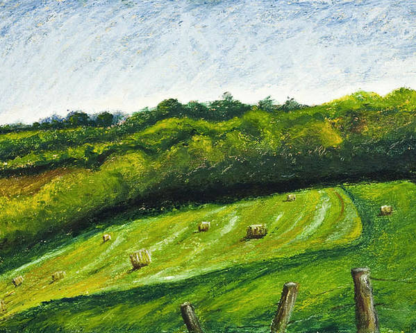 Landscape Poster featuring the painting Hayfield by Robert Sako