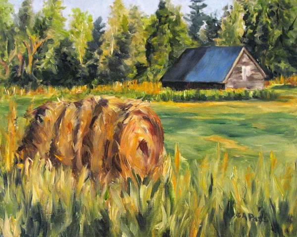 Landscape Poster featuring the painting Hayroll And Barn by Cheryl Pass