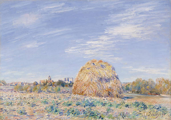 Haystack On The Banks Of The Loing Poster featuring the painting Haystack On The Banks Of The Loing by Alfred Sisley