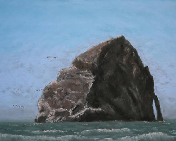 Seascape Poster featuring the painting Haystack Rock by Carl Capps
