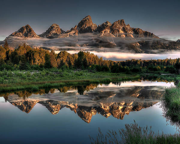 Schwabacher Landing Poster featuring the photograph Hazy Reflections at Scwabacher Landing by Ryan Smith