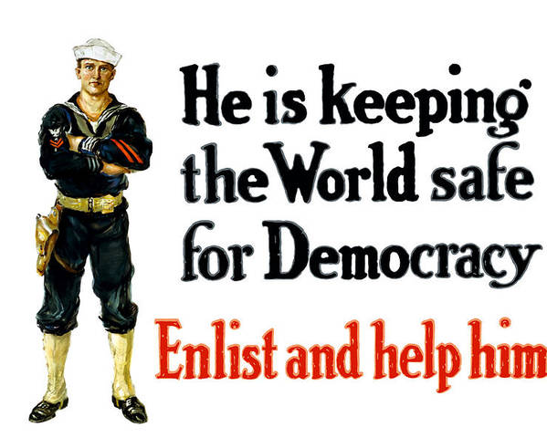 Navy Poster featuring the painting He Is Keeping The World Safe For Democracy by War Is Hell Store