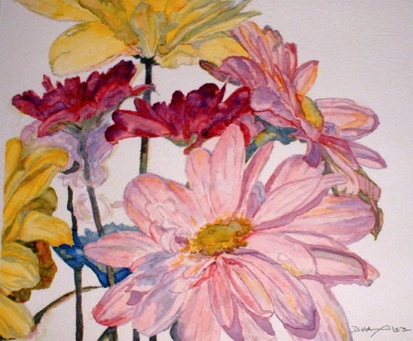 Floral Poster featuring the painting He Loves Me - Watercolor by Donna Hanna