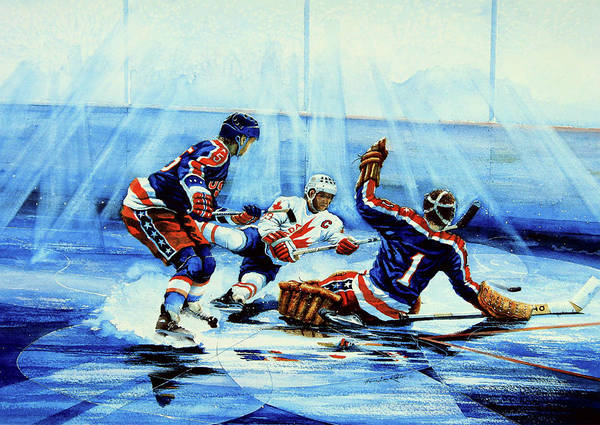 Hockey Poster featuring the painting He Shoots by Hanne Lore Koehler