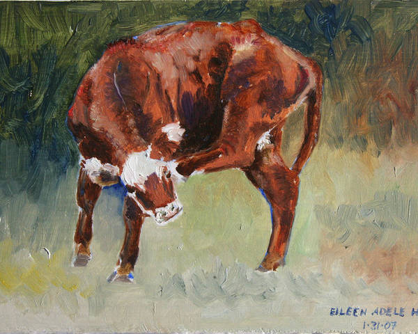 Cow Poster featuring the painting Head-Scratching Heifer PAD by Eileen Hale