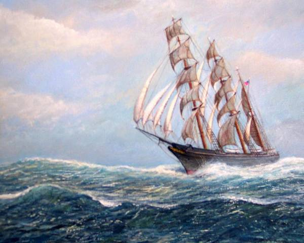 Tall Ships. Marine Art Poster featuring the painting Headin' Home by William H RaVell III