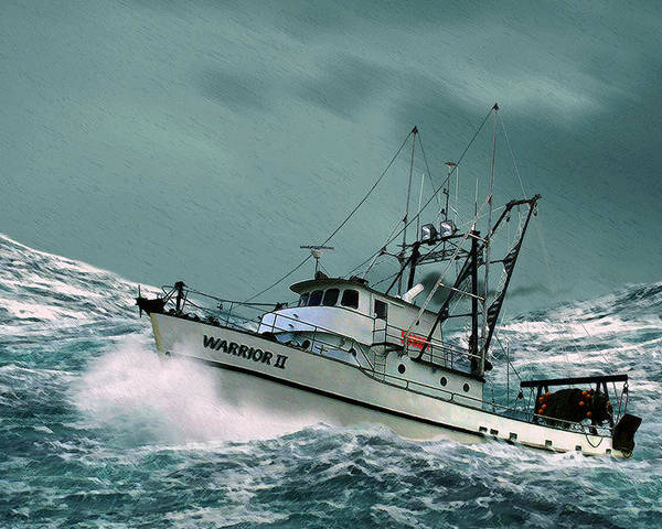 Fishing Vessel In A Rough Sea. Poster featuring the digital art Heading For Shelter by John Helgeson