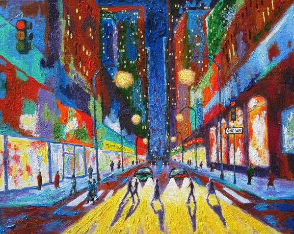 Urban Scene Poster featuring the painting Headlights by J Loren Reedy