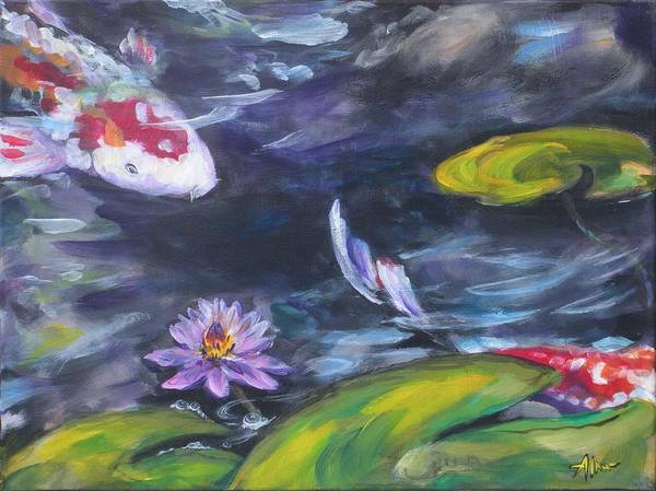 Koi Fish Lily Pad Water Waterscape Green Blue Red Pond Nature Poster featuring the painting Heads Or Tails by Alan Scott Craig
