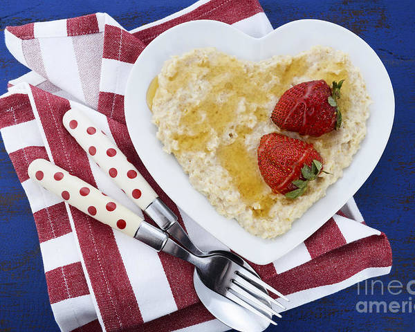 Nutrious Poster featuring the photograph Healthy Breakfast Oats On Heart Shape Plate by Milleflore Images
