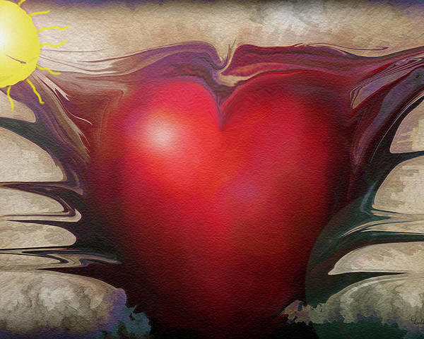 Abstracts Poster featuring the digital art Heart Of The Sunrise by Linda Sannuti