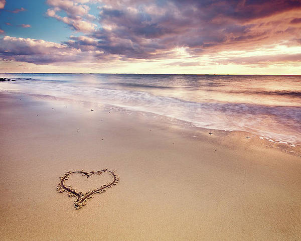 Horizontal Poster featuring the photograph Heart On The Beach by Elusive Photography