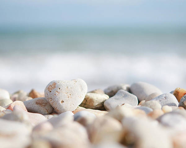 Horizontal Poster featuring the photograph Heart Shaped Pebble On The Beach by Alexandre Fundone
