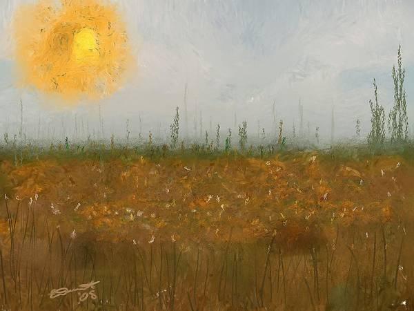 Island Painting Heatwave Sun Hot Oil Summer Marsh Massachusetts Poster featuring the painting Heatwave by Eddie Durrett