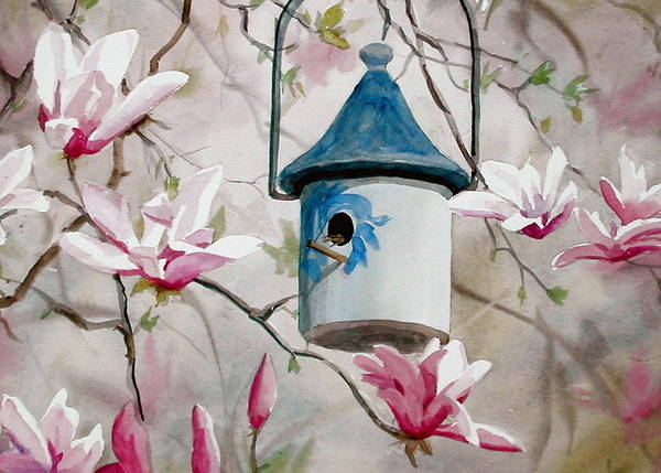 Birdhouse Poster featuring the painting Heavenly Home by Faye Ziegler