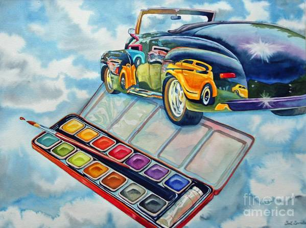 Old Vintage Car Poster featuring the painting Heavenly Hotrod by Gail Zavala