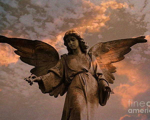 Angel Art Poster featuring the photograph Heavenly Spiritual Angel Wings Sunset Sky by Kathy Fornal