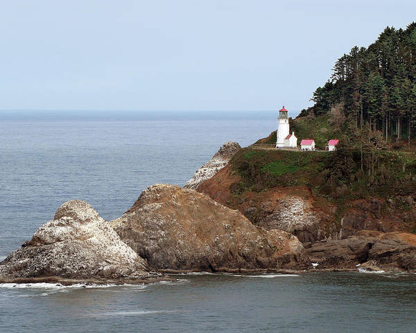 Hecata Head Lighthouse Poster featuring the photograph Heceta Head Lighthouse - Oregon's Scenic Pacific Coast Viewpoint by Christine Till