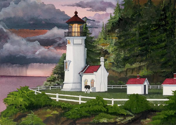 Heceta Head Lighthouse Poster featuring the painting Heceta Head Lighthouse by James Lyman