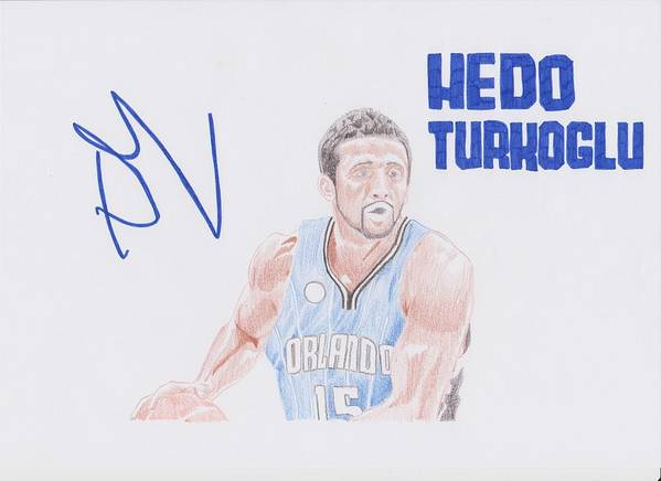 Hedo Poster featuring the drawing Hedo Turkoglu by Toni Jaso