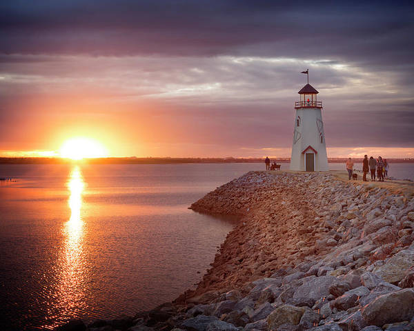Lighthouse Poster featuring the photograph Hefner Sunset II by Ricky Barnard