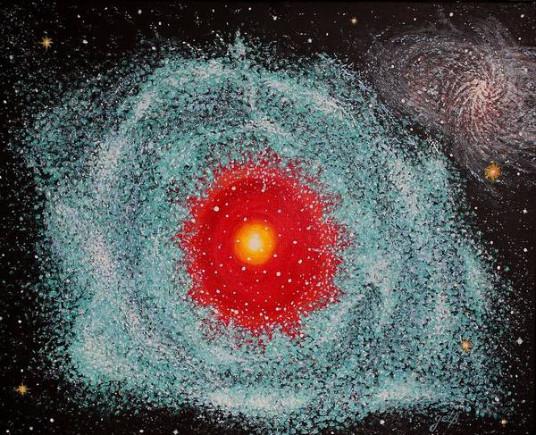 Outer Space Nebula Poster featuring the painting Helix Nebula by Georgeta Blanaru