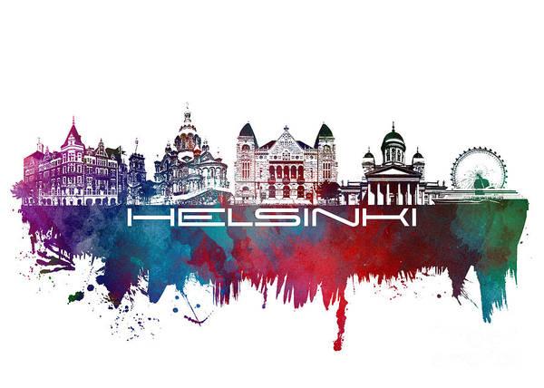 Helsinki Poster featuring the digital art Helsinki Skyline City Blue by Justyna JBJart