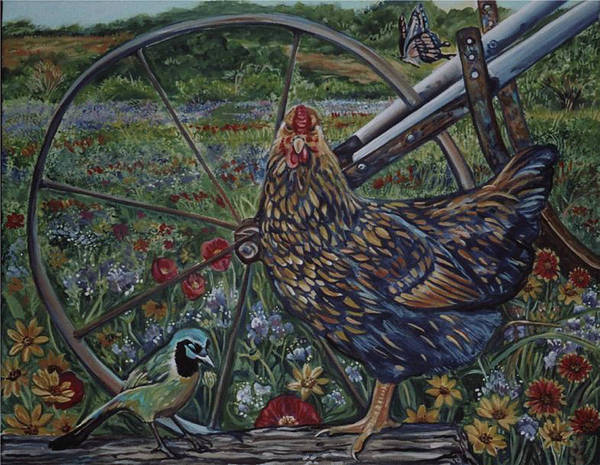 Animal Poster featuring the painting Hen And Plow Wheel by Diann Baggett