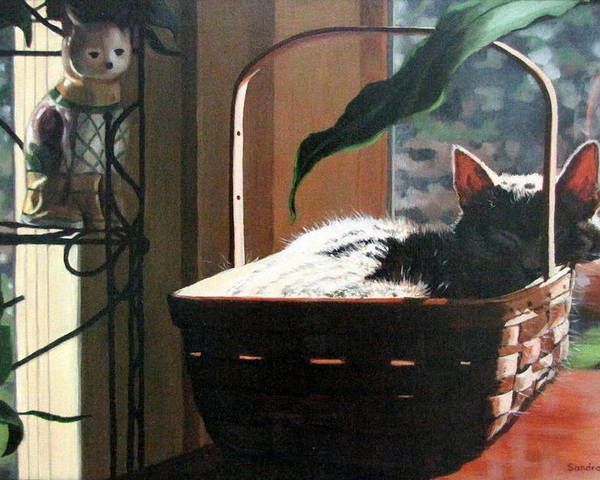 Cat Poster featuring the painting Her Basket by Sandra Chase