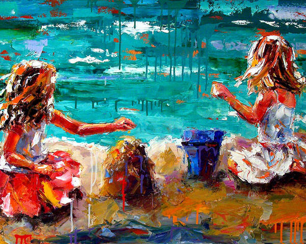 Seascape Poster featuring the painting Her Blue Bucket by Debra Hurd
