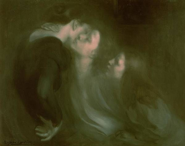 Her Poster featuring the painting Her Mother's Kiss by Eugene Carriere