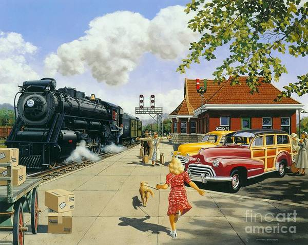 Train Station Poster featuring the painting Here At Last by Michael Swanson