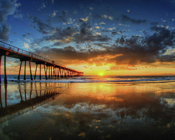 Horizontal Poster featuring the photograph Hermosa Beach by Neil Kremer