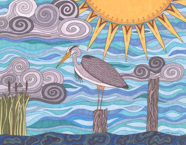 Heron Poster featuring the drawing Heron's Watch by Pamela Schiermeyer