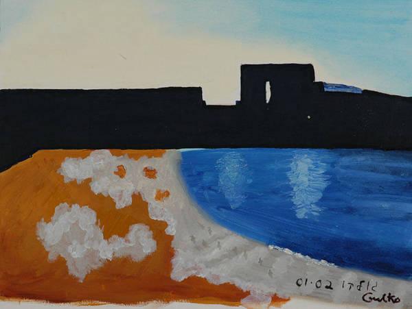 Beach Poster featuring the painting Herzliya Beach by Harris Gulko