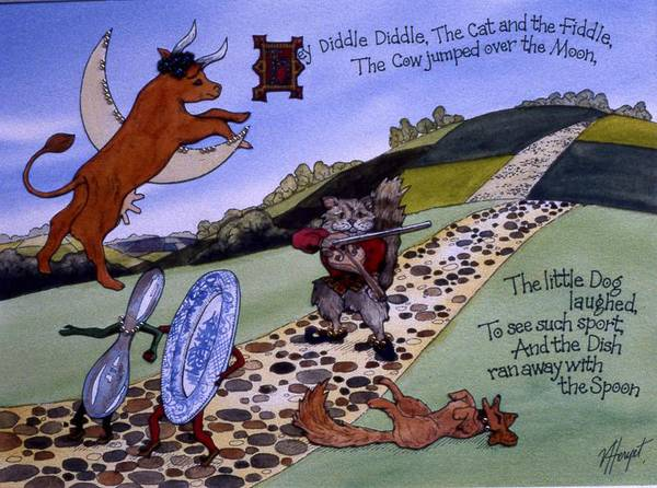 Heyy Diddle Diddle Poster featuring the painting Hey Diddle Diddle by Victoria Heryet