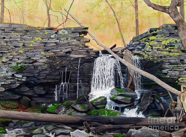 Waterfall Poster featuring the painting Hidden Sanctuary by Heidi Parmelee-Pratt