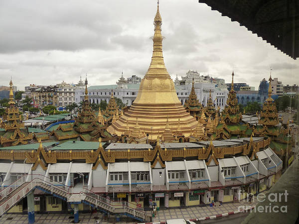 Buddha Poster featuring the photograph High Angle View Of Sule Pagoda Yangon Burma by Jason Rosette