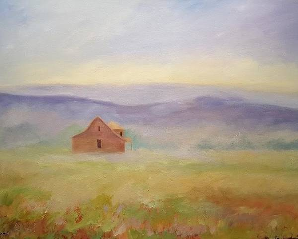 Old House In Landscape Poster featuring the painting High Lonesome by Ginger Concepcion