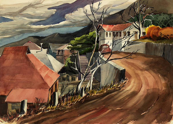 Landscape Poster featuring the painting High Road At Jerome by Thomas Tribby
