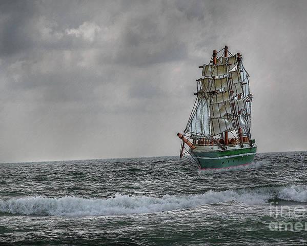 Ship Poster featuring the digital art High Seas Sailing Ship by Randy Steele