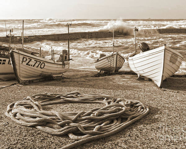 Harbor Poster featuring the photograph High Tide In Sennen Cove Sepia by Terri Waters