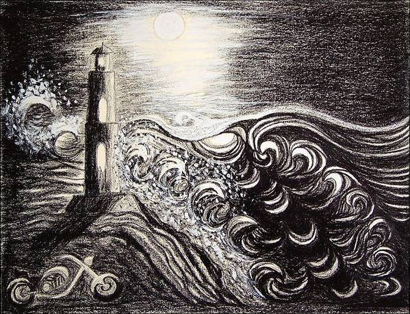 Full Moon Poster featuring the drawing High Tide by Ingrid Szabo