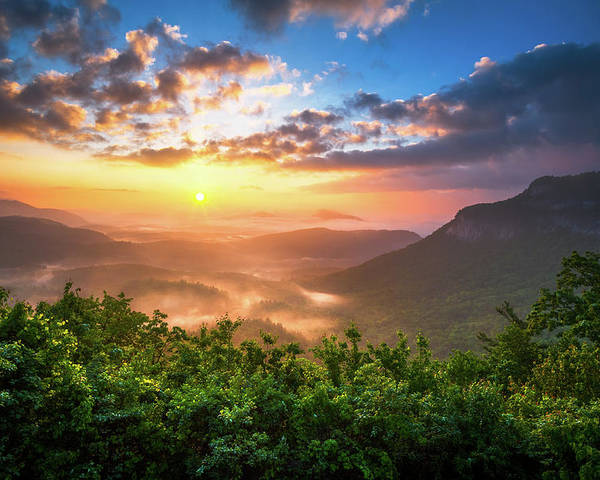 Sunset Poster featuring the photograph Highlands Sunrise - Whitesides Mountain In Highlands Nc by Dave Allen