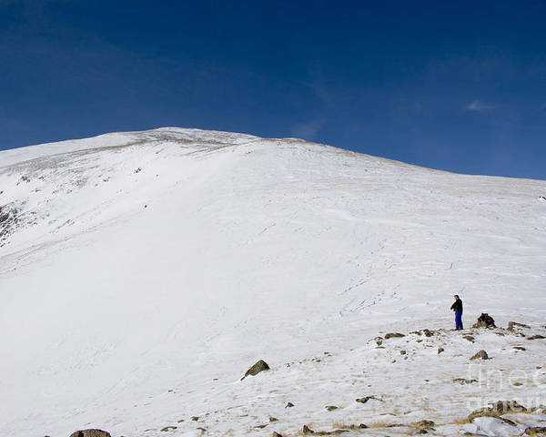 Mount Elbert Poster featuring the photograph Hiking To Summit Of Mount Elbert Colorado In Winter by Steve Krull