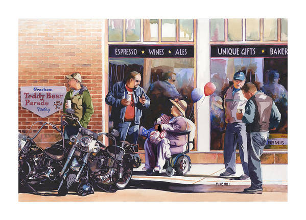 Motorcycles Bikes Hogs Bikers Harley Davidson Harleys Wheel Chair Teddy Bear  Poster featuring the painting Hilda Hogs And Harleys by Mike Hill
