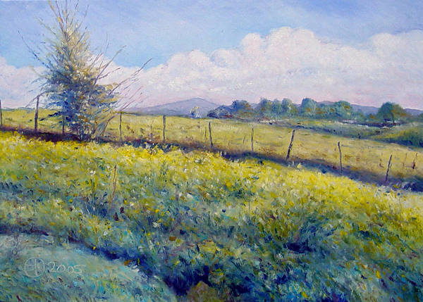 Italy Painting Poster featuring the painting Hills Around Gavignano Italy 2005 by Enver Larney