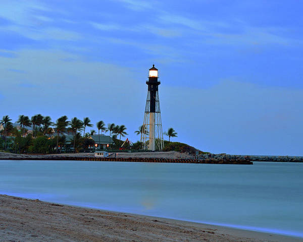 Delray Poster featuring the photograph Hillsboro Lighthouse Twilight Time by Ken Figurski