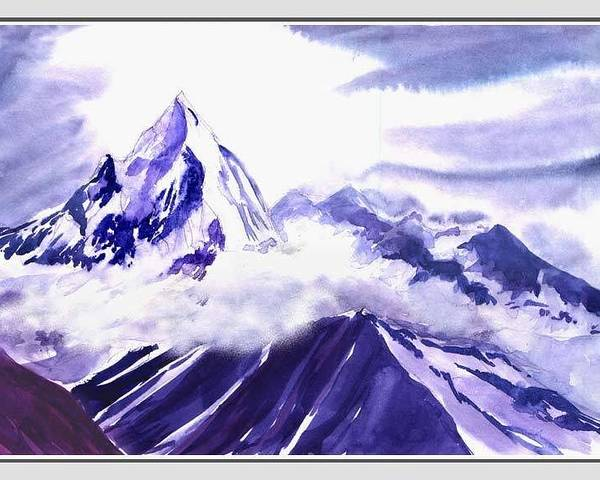 Landscape Poster featuring the painting Himalaya by Anil Nene