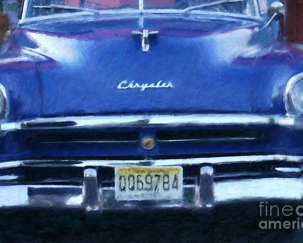 Car Poster featuring the digital art Historic Chrysler Front End by Susan Lipschutz